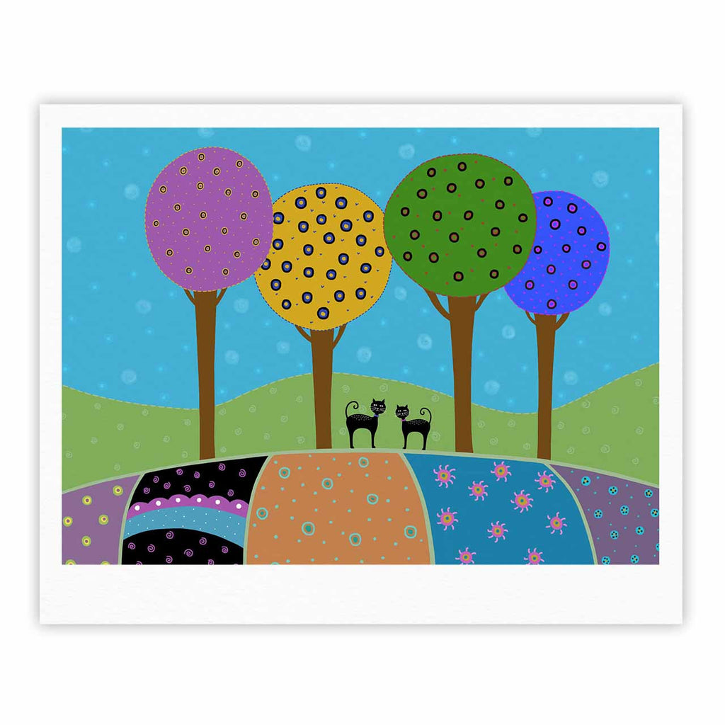 "Cristina bianco Design ""Cats & Colorful Landscape"" Pink Illustration Fine Art Gallery Print - KESS InHouse"