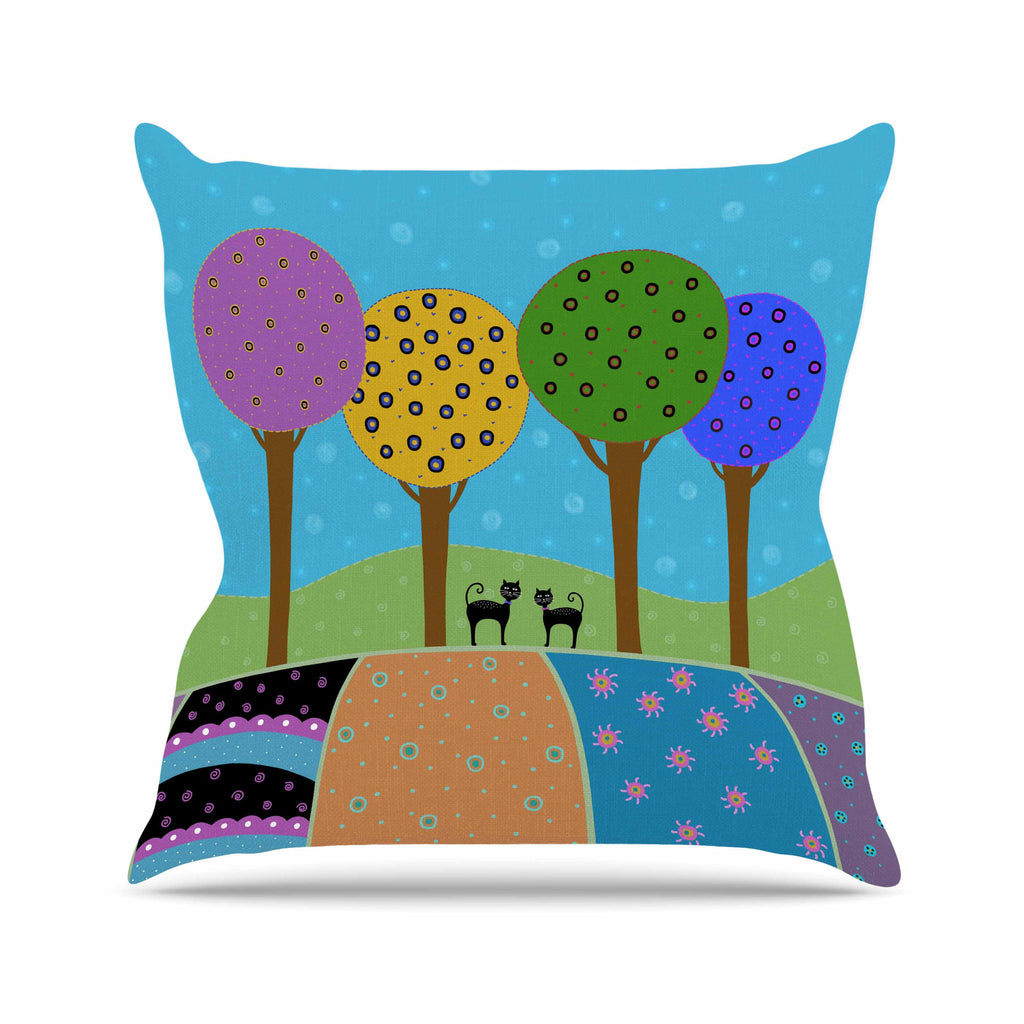 "Cristina bianco Design ""Cats & Colorful Landscape"" Pink Illustration Throw Pillow - KESS InHouse  - 1"