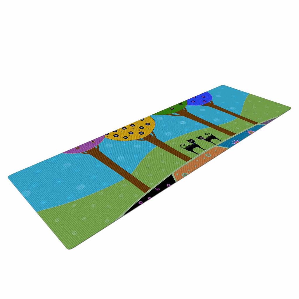 "Cristina bianco Design ""Cats & Colorful Landscape"" Pink Illustration Yoga Mat - KESS InHouse  - 1"