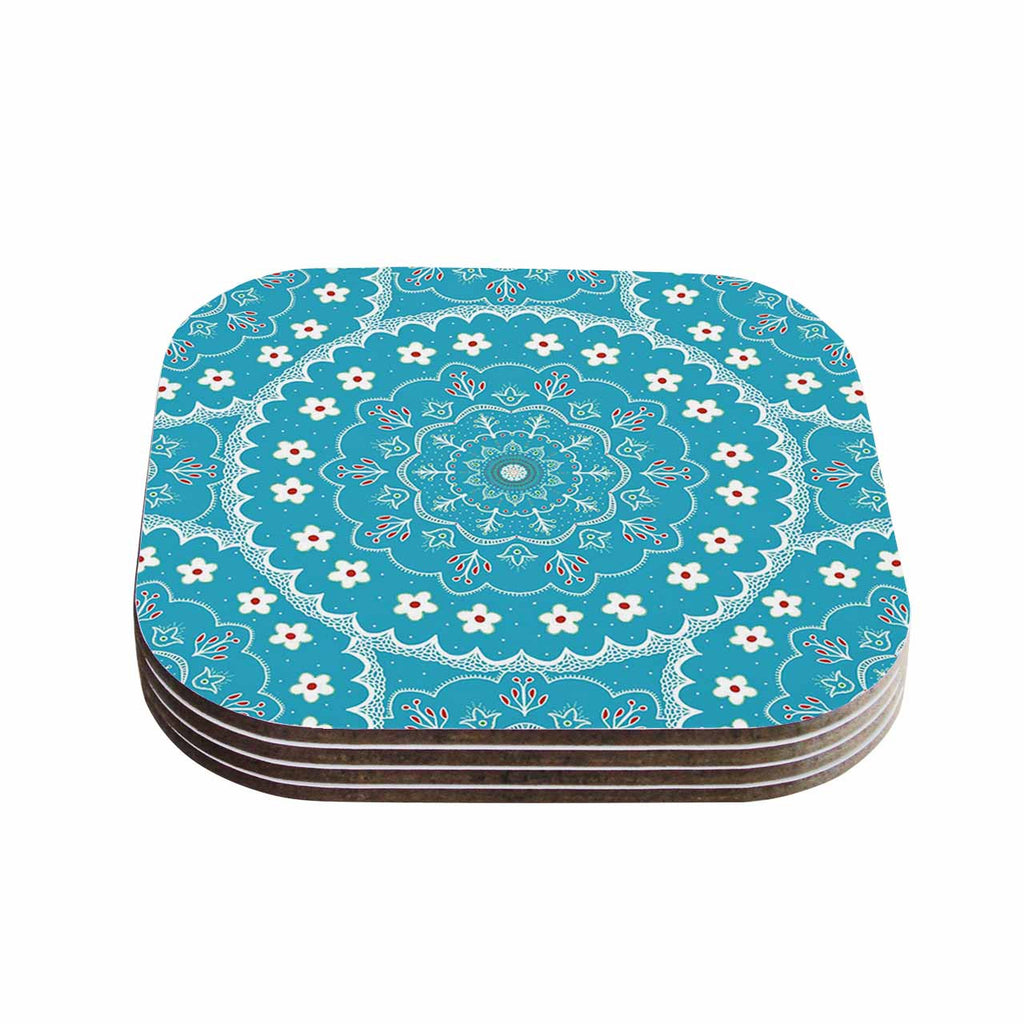 "Cristina bianco Design ""Blue & White Mandala"" Blue Floral Coasters (Set of 4)"