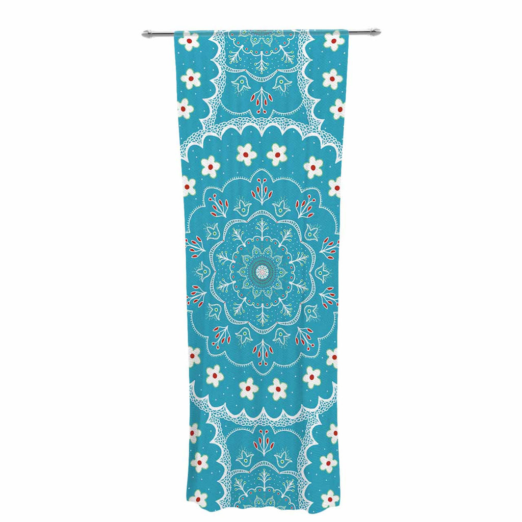 "Cristina bianco Design ""Blue & White Mandala"" Blue Floral Decorative Sheer Curtain - KESS InHouse  - 1"