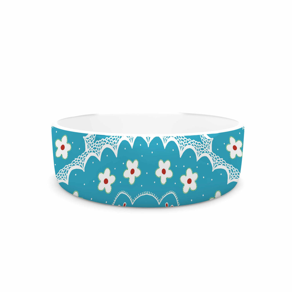 "Cristina bianco Design ""Blue & White Mandala"" Blue Floral Pet Bowl - KESS InHouse"
