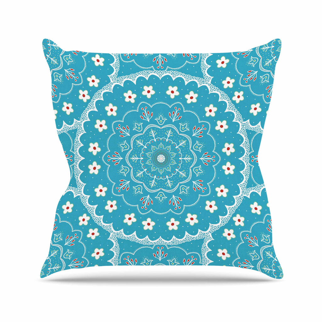 "Cristina bianco Design ""Blue & White Mandala"" Blue Floral Throw Pillow - KESS InHouse  - 1"