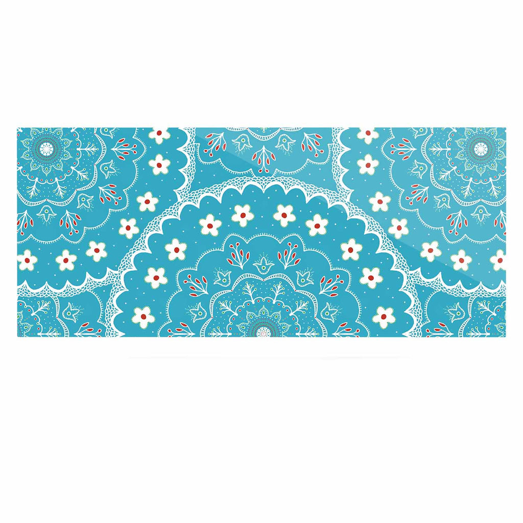 "Cristina bianco Design ""Blue & White Mandala"" Blue Floral Luxe Rectangle Panel - KESS InHouse  - 1"