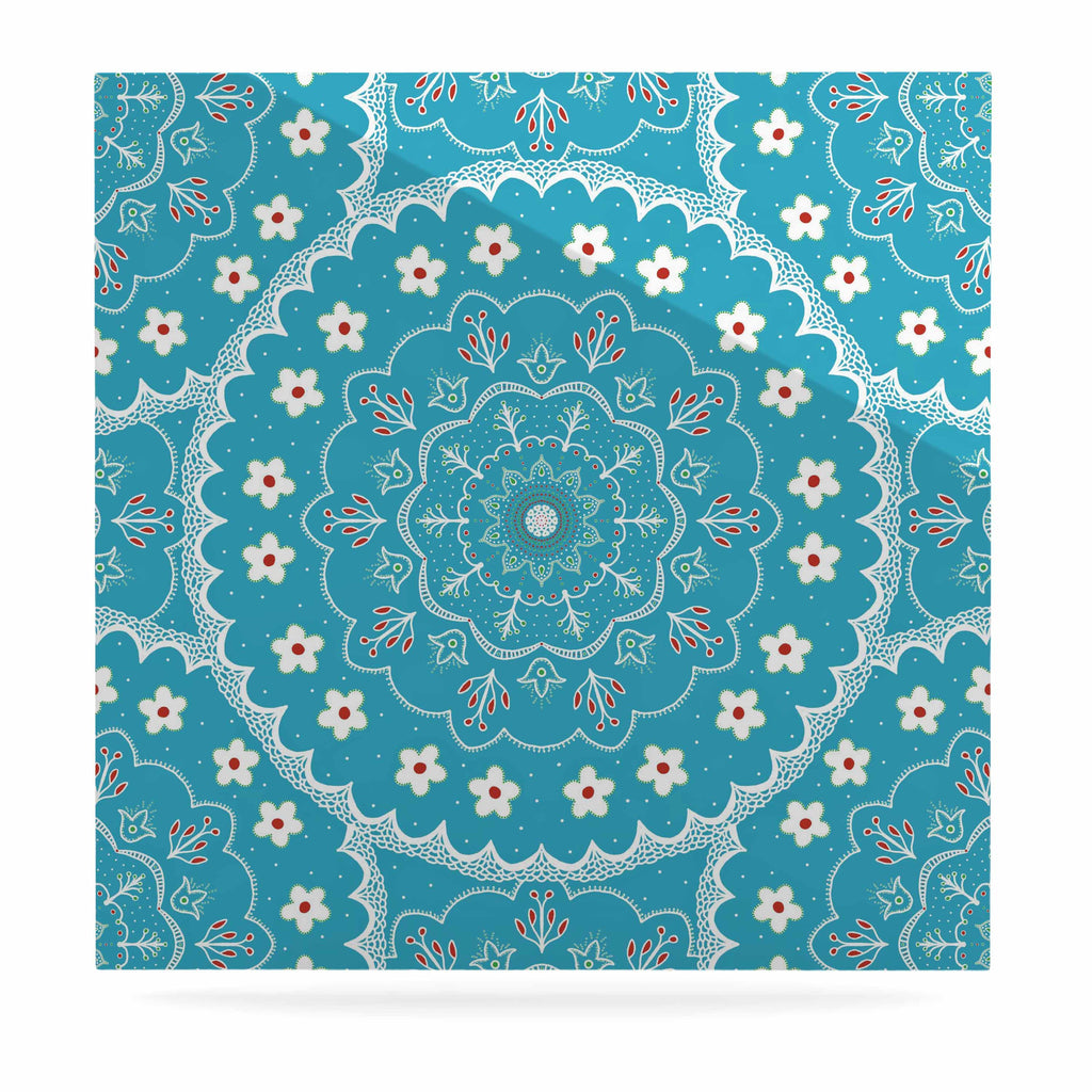 "Cristina bianco Design ""Blue & White Mandala"" Blue Floral Luxe Square Panel - KESS InHouse  - 1"
