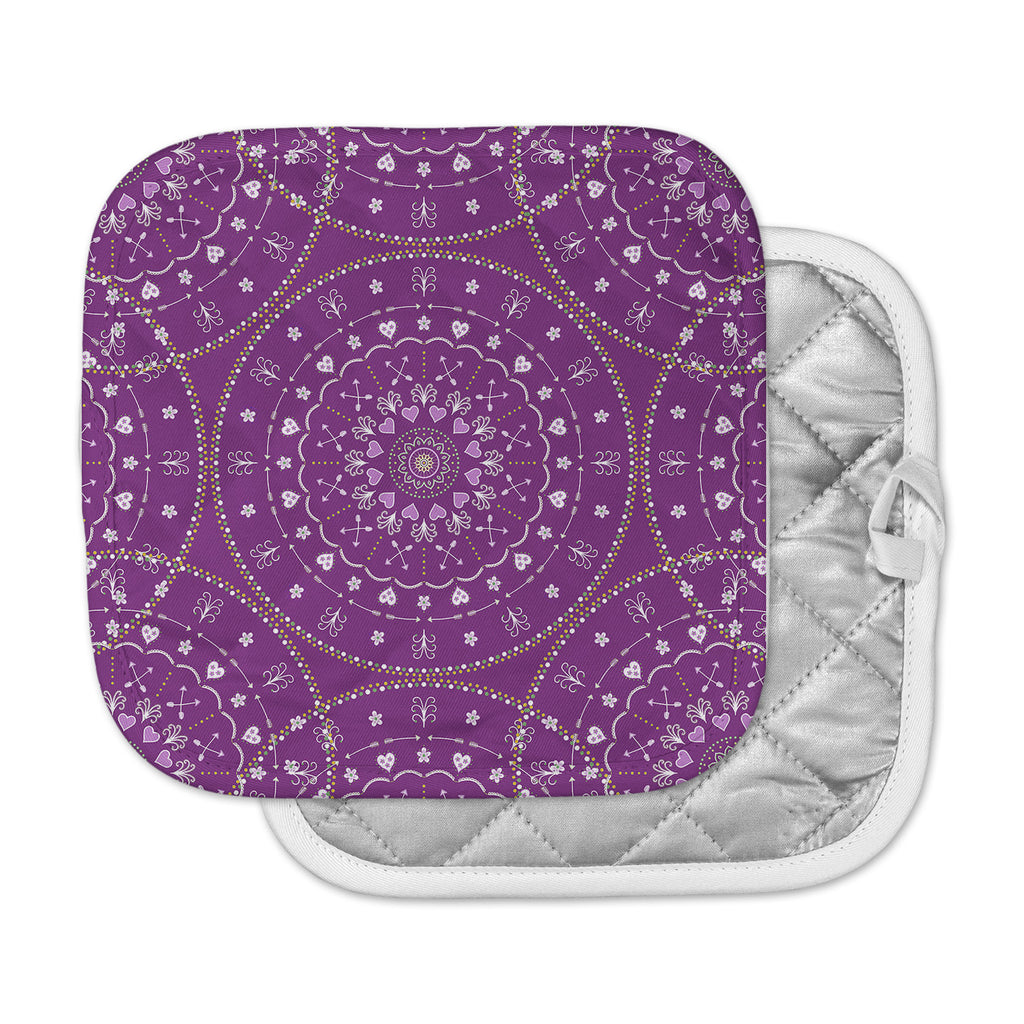 "Cristina bianco Design ""Purple Mandalas"" Purple Geometric Pot Holder"
