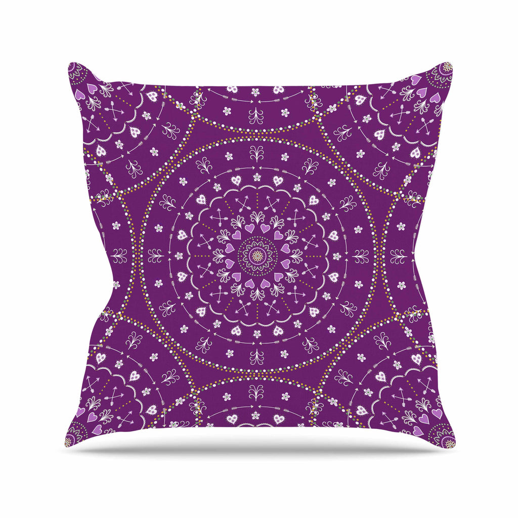 "Cristina bianco Design ""Purple Mandalas"" Purple Geometric Outdoor Throw Pillow - KESS InHouse  - 1"