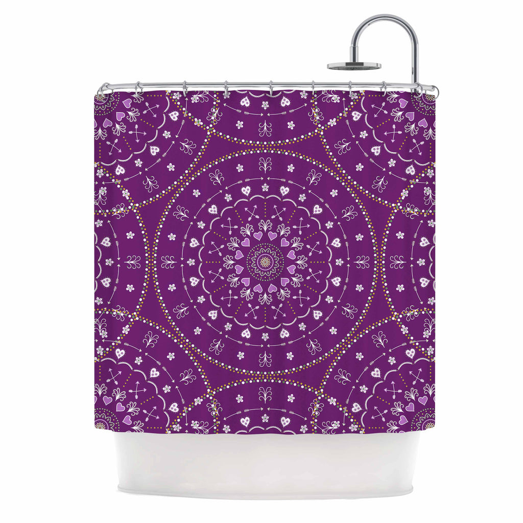 "Cristina bianco Design ""Purple Mandalas"" Purple Geometric Shower Curtain - KESS InHouse"