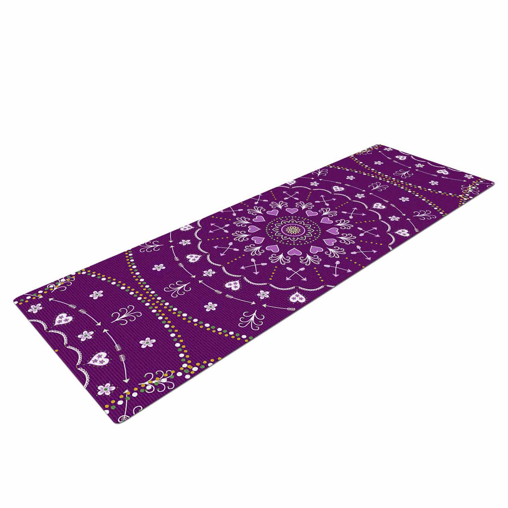 "Cristina bianco Design ""Purple Mandalas"" Purple Geometric Yoga Mat - KESS InHouse  - 1"