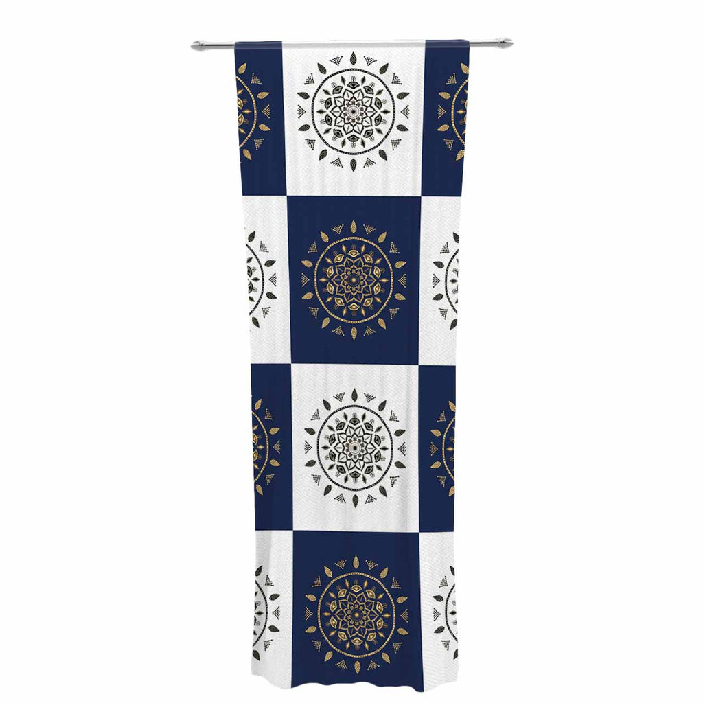 "Cristina bianco Design ""Mandalas * Pattern"" Navy Pattern Decorative Sheer Curtain - KESS InHouse  - 1"