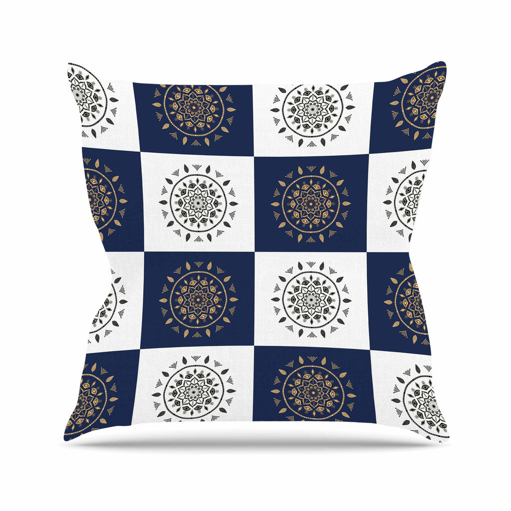 "Cristina bianco Design ""Mandalas * Pattern"" Navy Pattern Outdoor Throw Pillow - KESS InHouse  - 1"