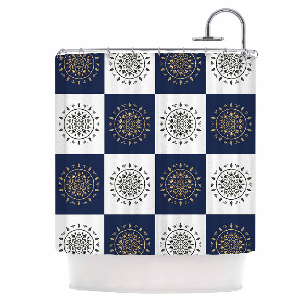 "Cristina bianco Design ""Mandalas * Pattern"" Navy Pattern Shower Curtain - KESS InHouse"