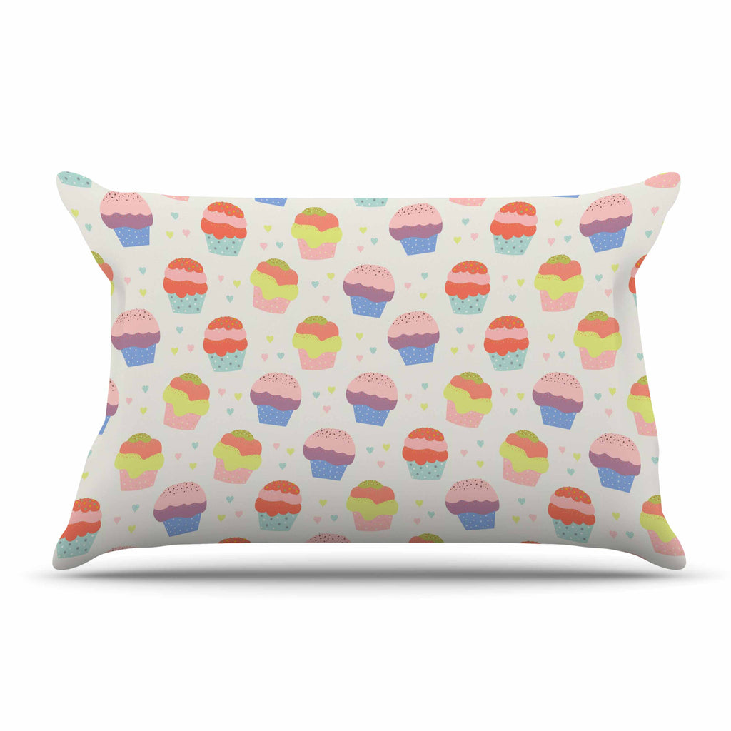"Cristina bianco Design ""Cupcakes"" Yellow Food Pillow Sham - KESS InHouse  - 1"