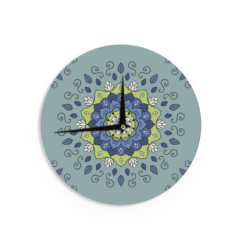 "Cristina bianco Design ""Blue & Green Mandala"" Blue Geometric Wall Clock - KESS InHouse"