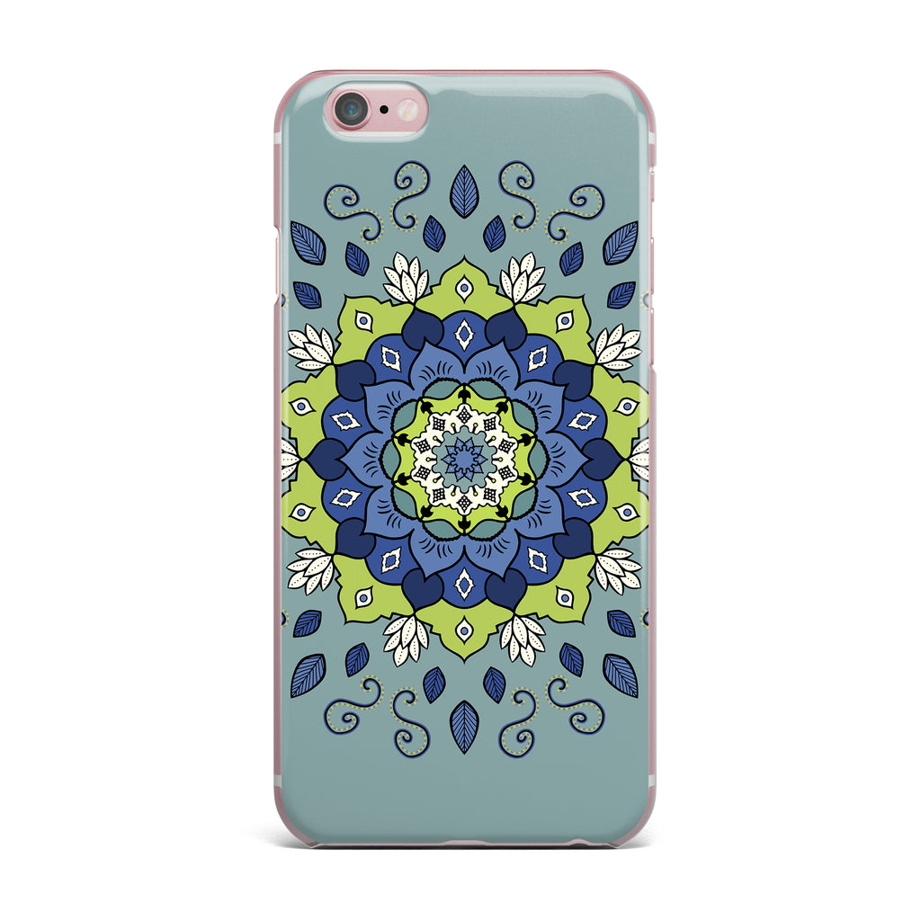 "Cristina bianco Design ""Blue & Green Mandala"" Blue Geometric iPhone Case - KESS InHouse"