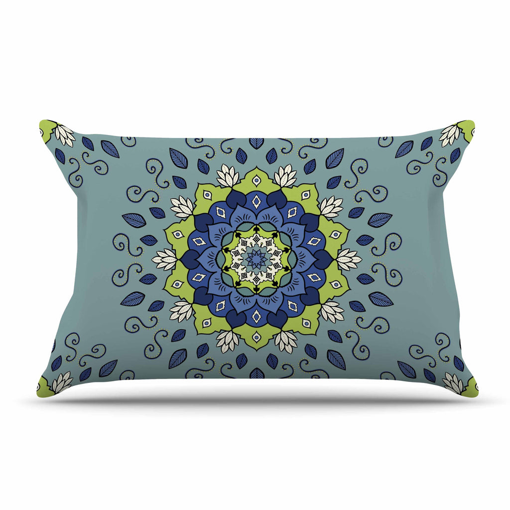 "Cristina bianco Design ""Blue & Green Mandala"" Blue Geometric Pillow Sham - KESS InHouse  - 1"
