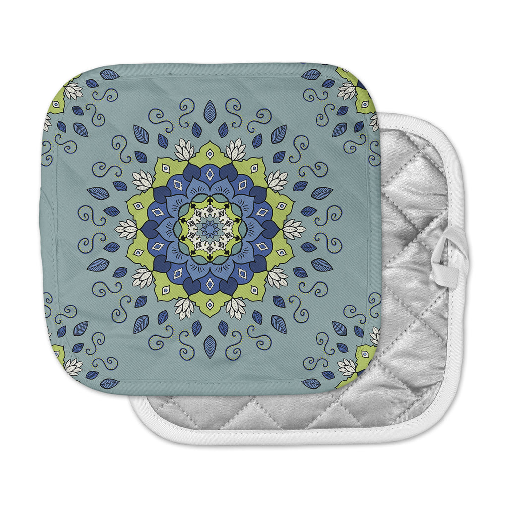 "Cristina bianco Design ""Blue & Green Mandala"" Blue Geometric Pot Holder"