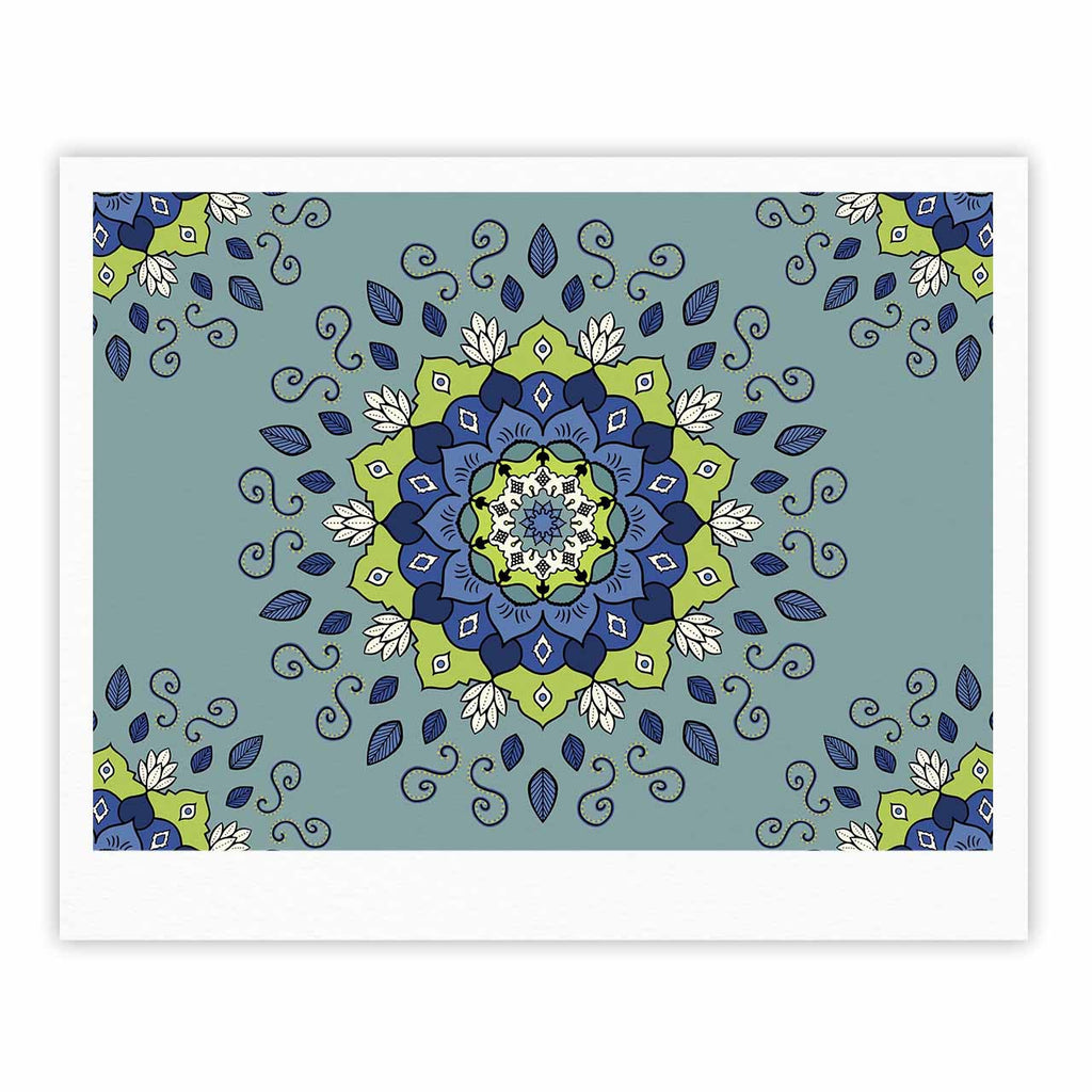 "Cristina bianco Design ""Blue & Green Mandala"" Blue Geometric Fine Art Gallery Print - KESS InHouse"
