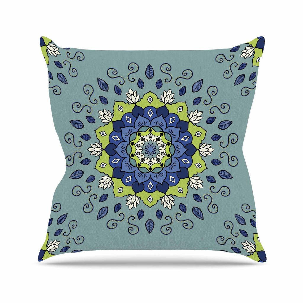 "Cristina bianco Design ""Blue & Green Mandala"" Blue Geometric Outdoor Throw Pillow - KESS InHouse  - 1"