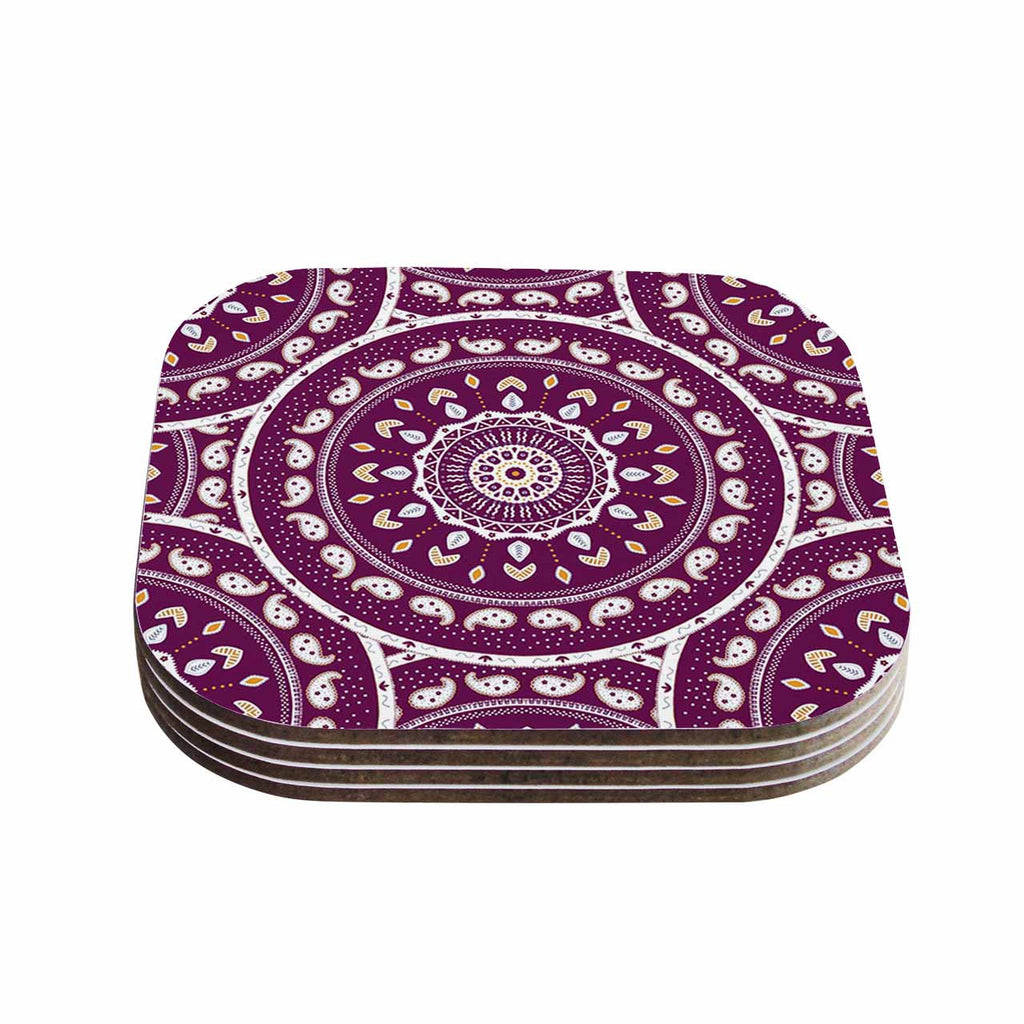 "Cristina bianco Design ""Mandala Design"" Purple Abstract Coasters (Set of 4)"