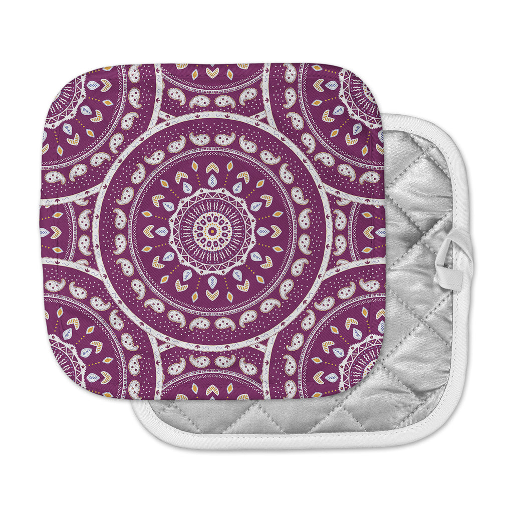 "Cristina bianco Design ""Mandala Design"" Purple Abstract Pot Holder"