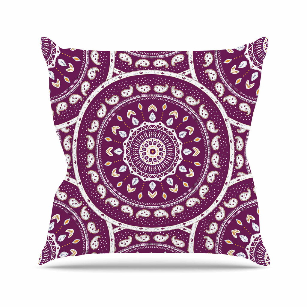 "Cristina bianco Design ""Mandala Design"" Purple Abstract Outdoor Throw Pillow - KESS InHouse  - 1"