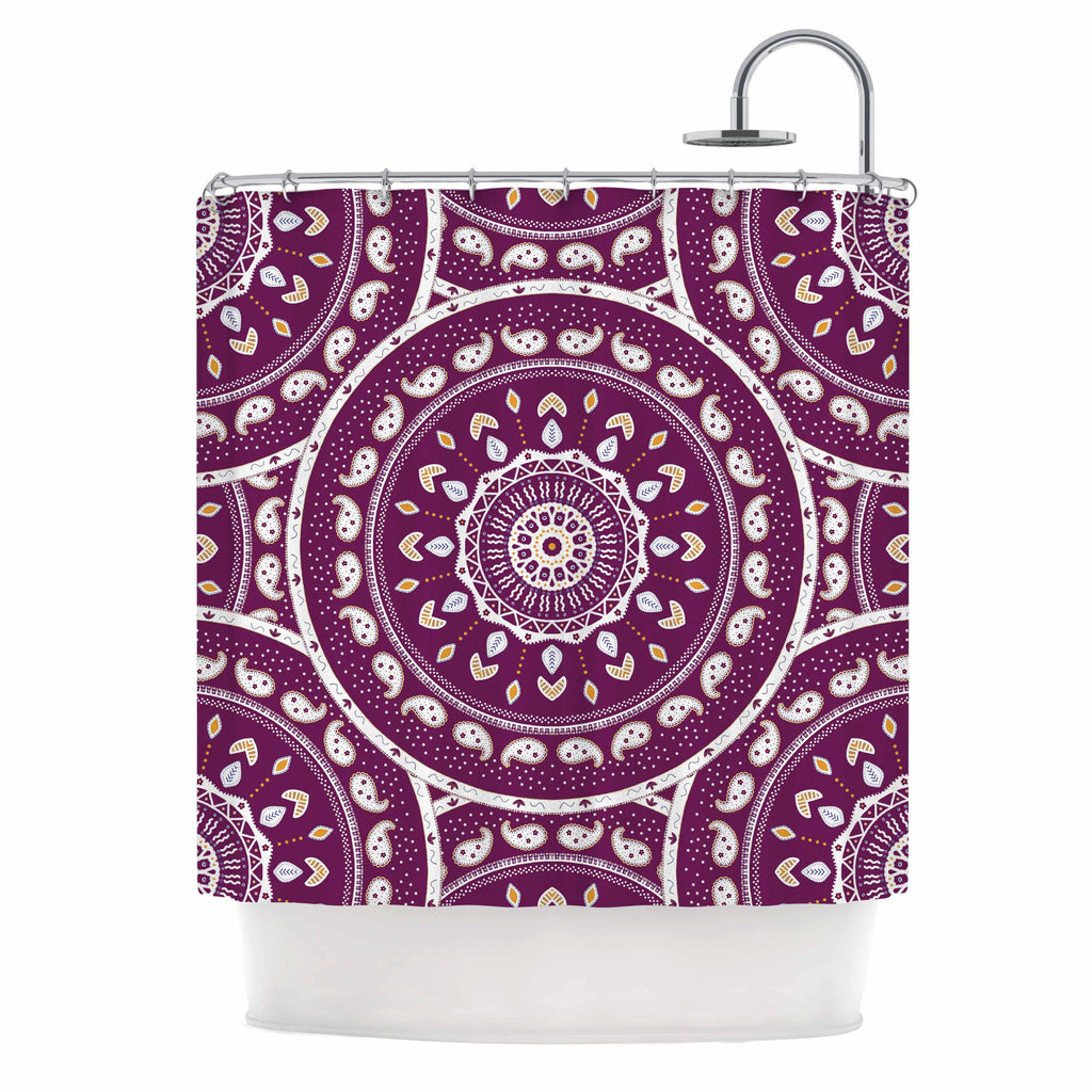 "Cristina bianco Design ""Mandala Design"" Purple Abstract Shower Curtain - KESS InHouse"
