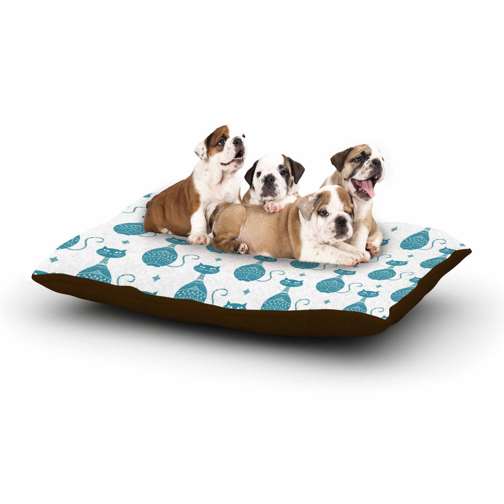 "Cristina Bianco Design ""Blue Cat Pattern"" White Animal Dog Bed - KESS InHouse  - 1"
