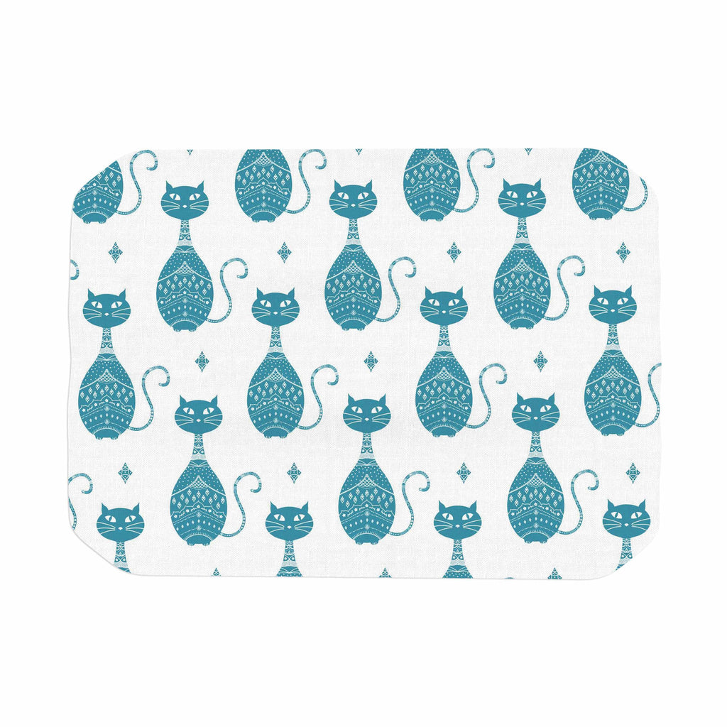 "Cristina Bianco Design ""Blue Cat Pattern"" White Animal Place Mat - KESS InHouse"