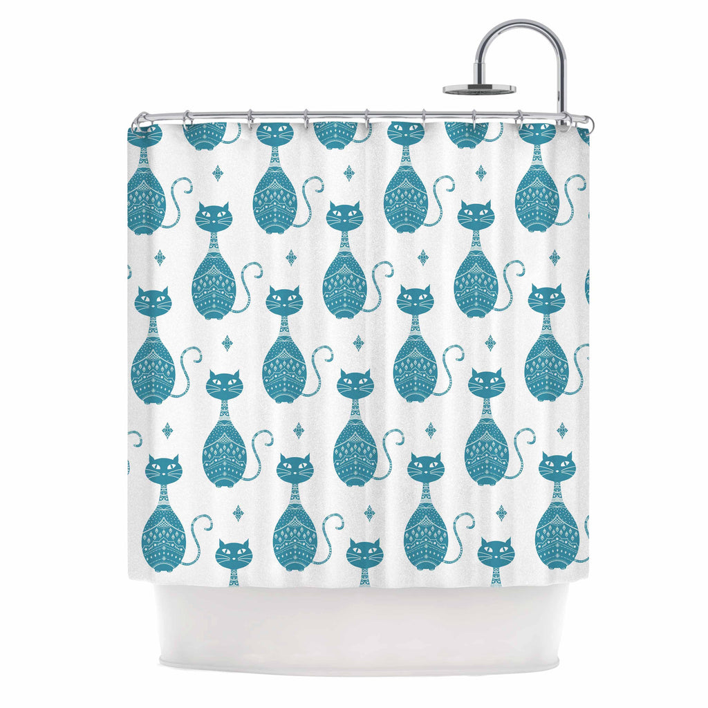 "Cristina Bianco Design ""Blue Cat Pattern"" White Animal Shower Curtain - KESS InHouse"