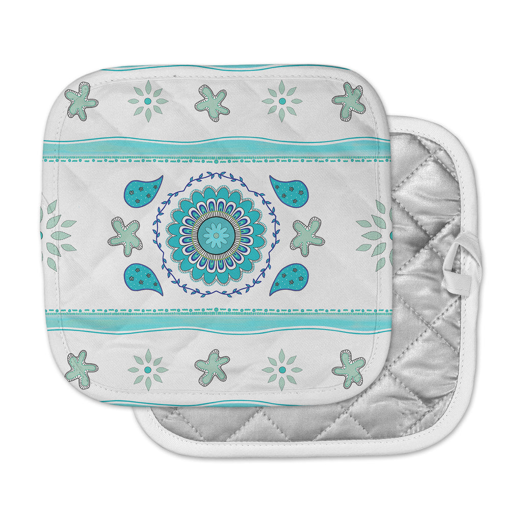 "Cristina Bianco Design ""Blue Mandala Design"" Blue White Painting Pot Holder"