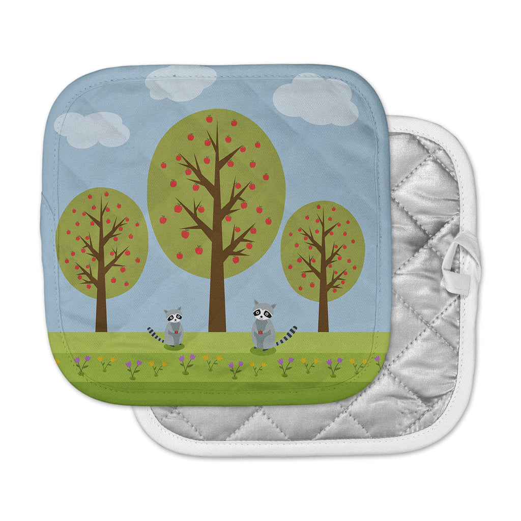 "Cristina Bianco Design ""Cute Raccoons And Apple Trees"" Green Blue Illustration Pot Holder"