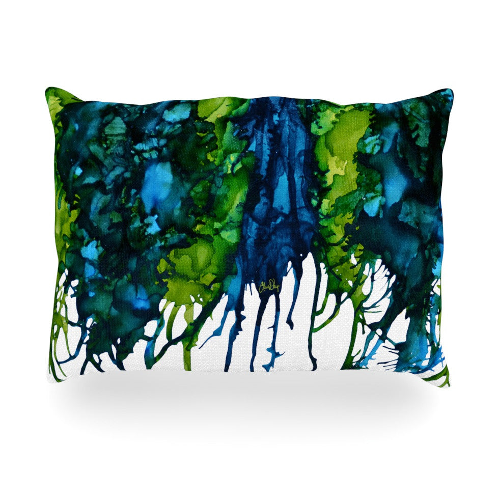 "Claire Day ""Drops"" Green Oblong Pillow - KESS InHouse"