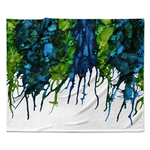 "Claire Day ""Drops"" Green Fleece Throw Blanket"