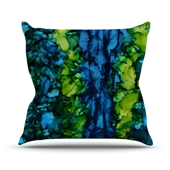 "Claire Day ""Drops"" Green Throw Pillow - KESS InHouse  - 1"