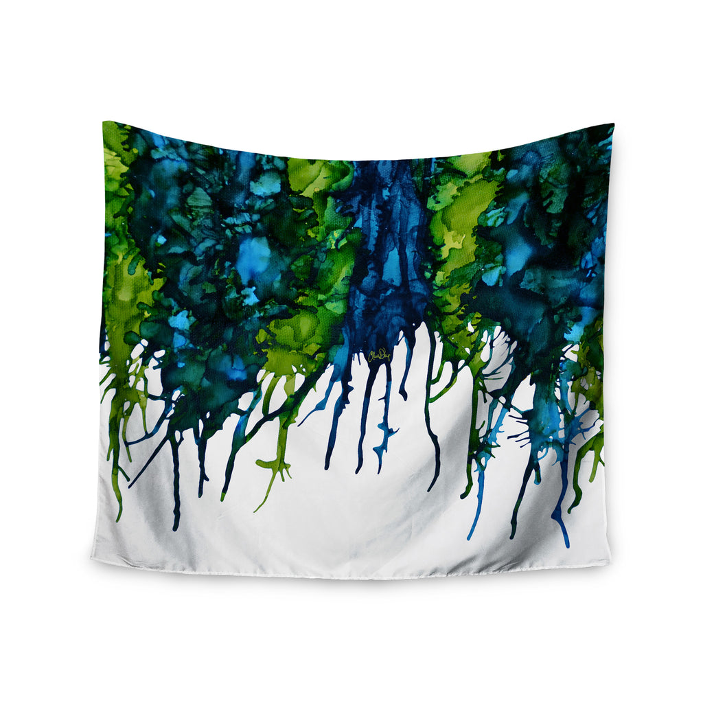 "Claire Day ""Drops"" Green Wall Tapestry - KESS InHouse  - 1"