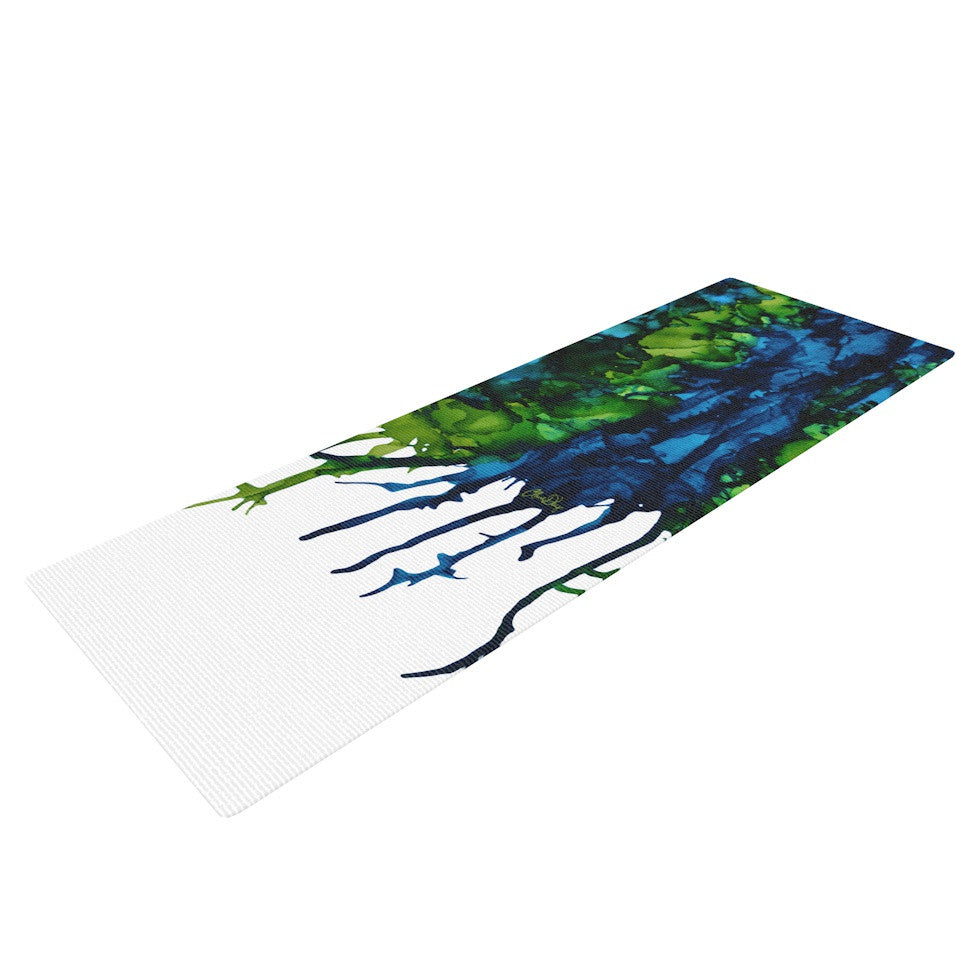 "Claire Day ""Drops"" Green Yoga Mat - KESS InHouse  - 1"