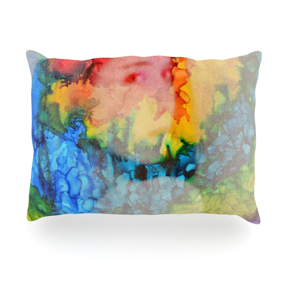 "Claire Day ""Clairefied"" Rainbow Paint Oblong Pillow - KESS InHouse"
