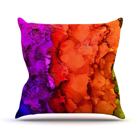"Claire Day ""Rainbow Splatter"" Outdoor Throw Pillow - KESS InHouse  - 1"