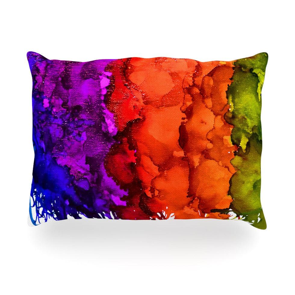 "Claire Day ""Rainbow Splatter"" Oblong Pillow - KESS InHouse"