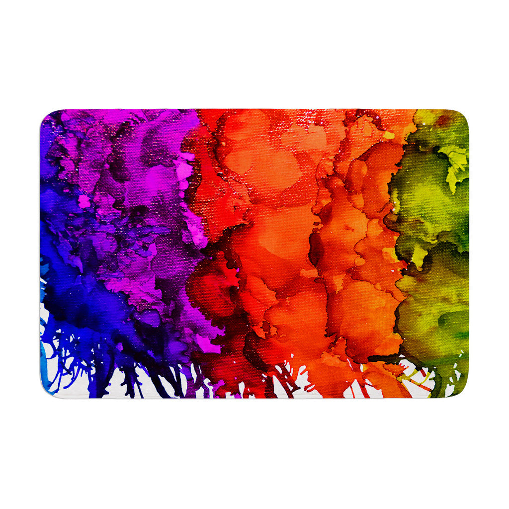 "Claire Day ""Rainbow Splatter"" Memory Foam Bath Mat - KESS InHouse"