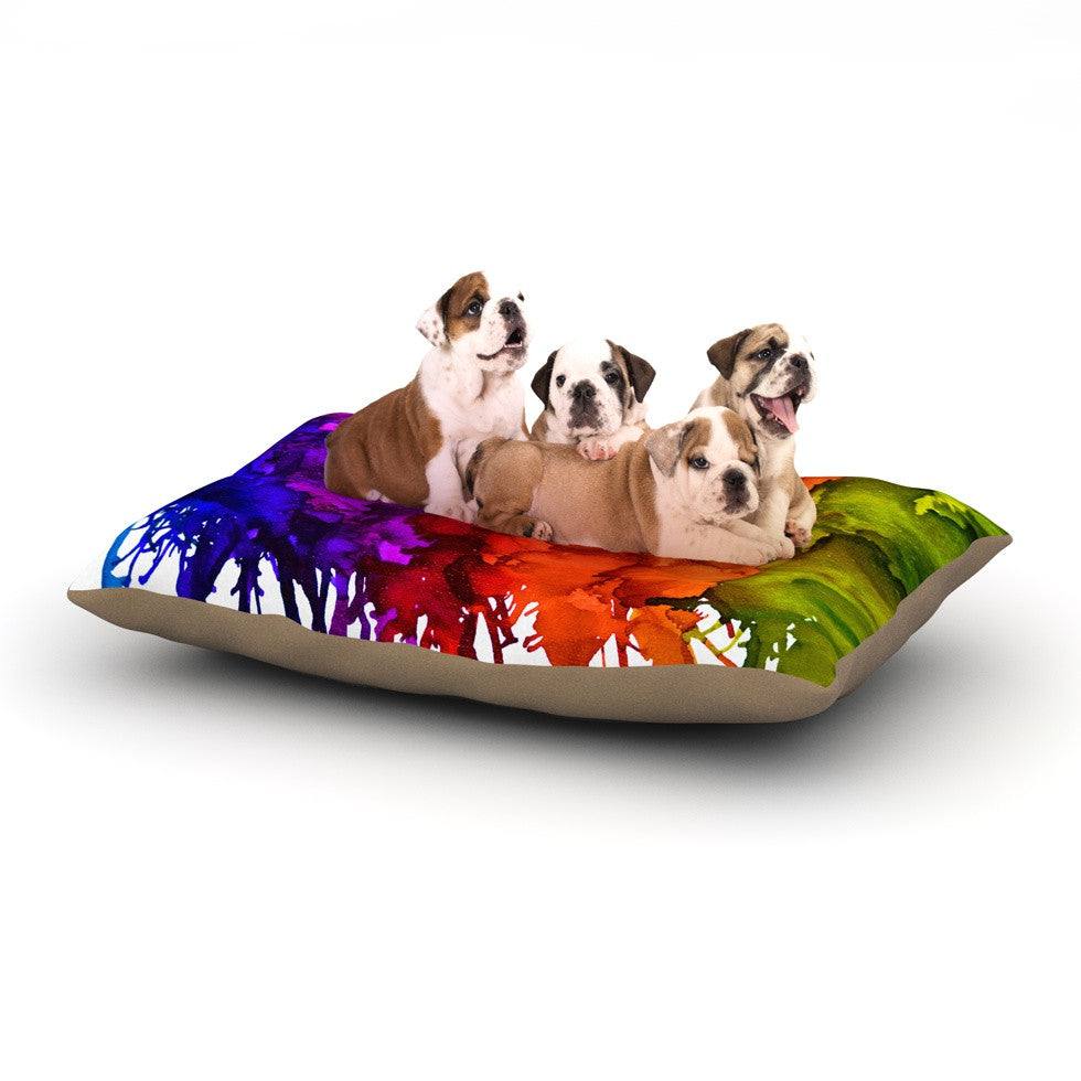 "Claire Day ""Rainbow Splatter"" Dog Bed - KESS InHouse  - 1"