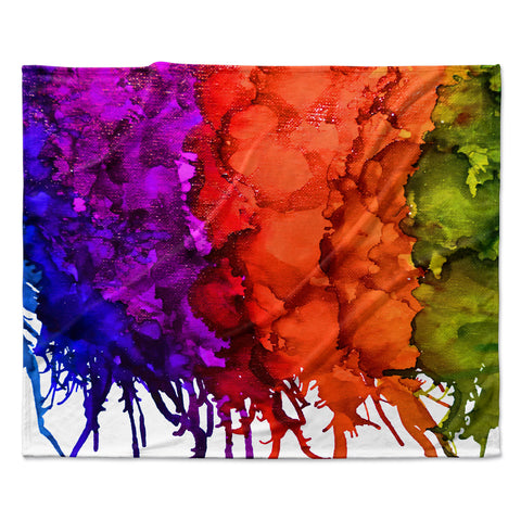 "Claire Day ""Rainbow Splatter"" Fleece Throw Blanket"