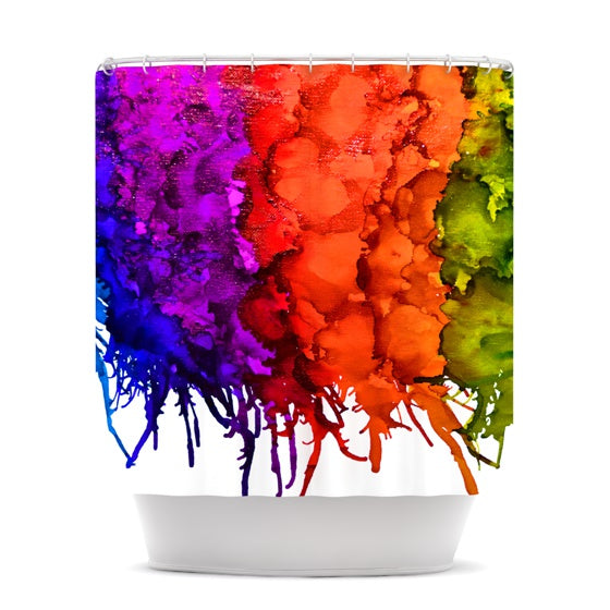 "Claire Day ""Rainbow Splatter"" Shower Curtain - KESS InHouse"