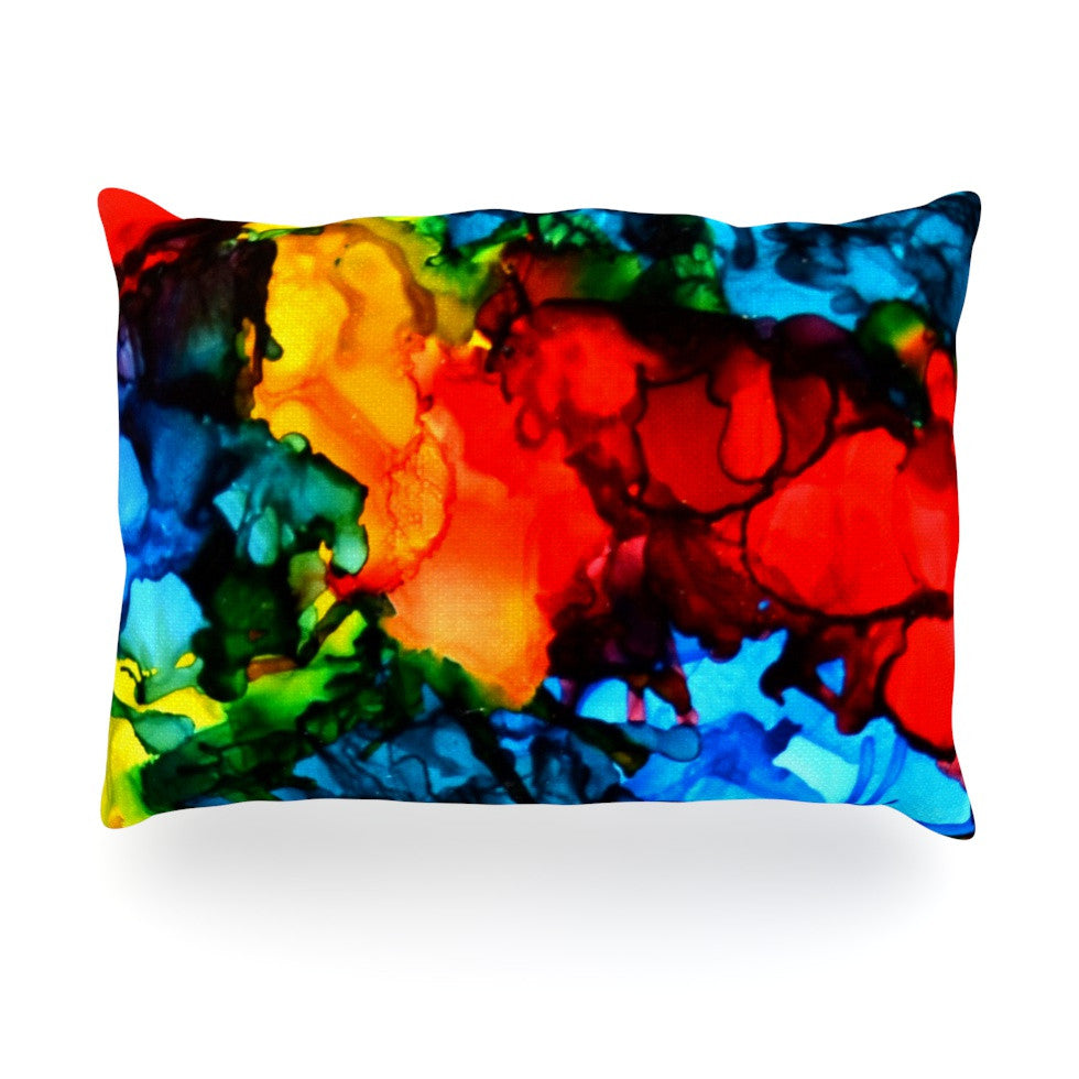 "Claire Day ""Family Photos III"" Blue Red Oblong Pillow - KESS InHouse"