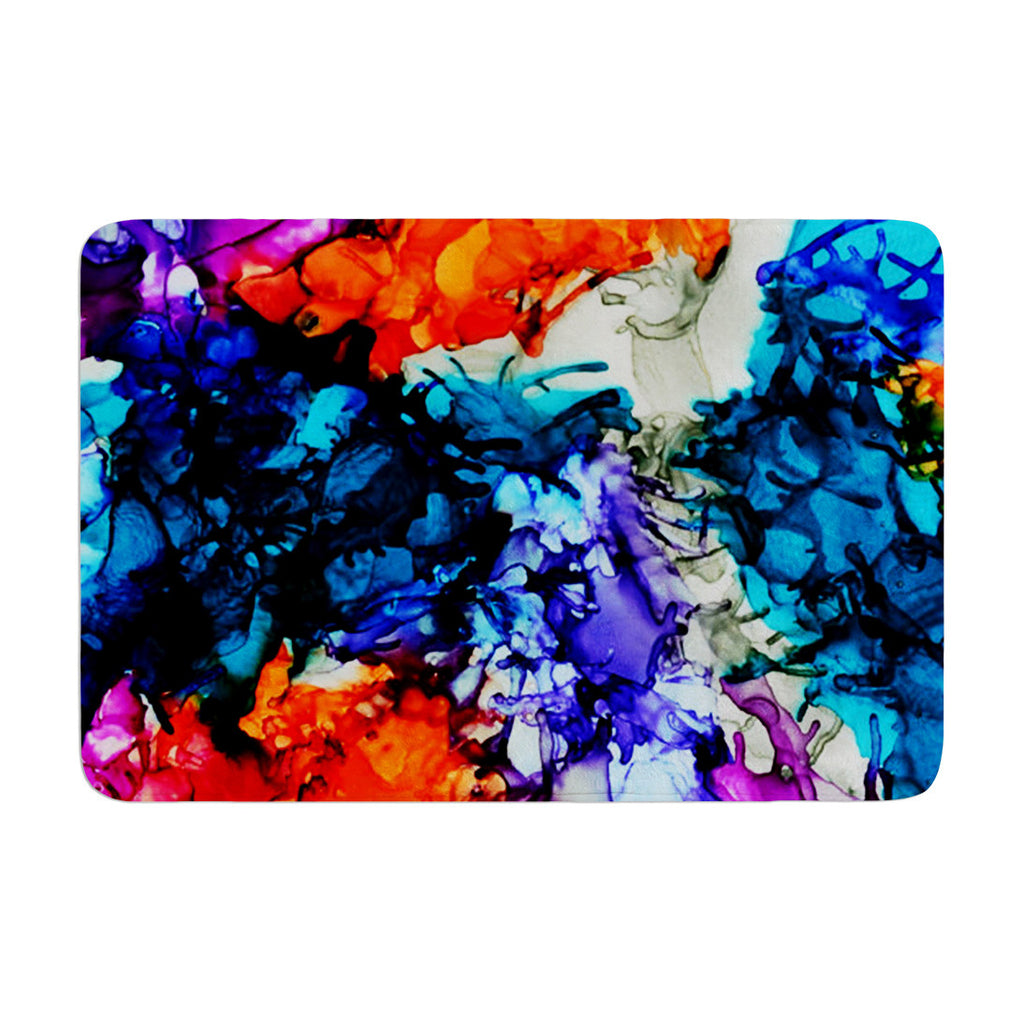 "Claire Day ""Evanescence"" Blue Rainbow Memory Foam Bath Mat - KESS InHouse"