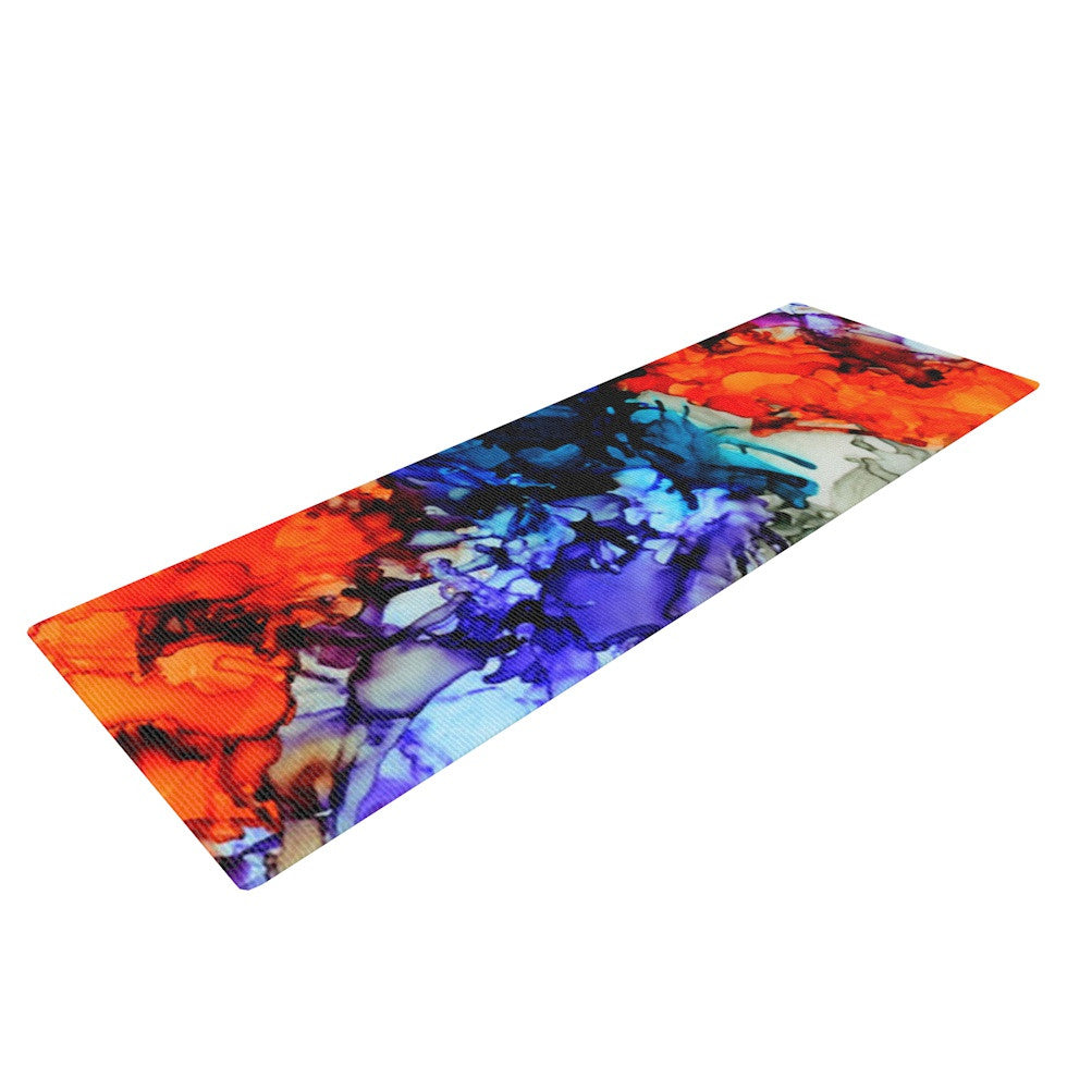 "Claire Day ""Evanescence"" Blue Rainbow Yoga Mat - KESS InHouse  - 1"