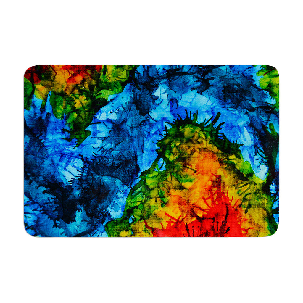 "Claire Day ""Flow"" Blue Green Memory Foam Bath Mat - KESS InHouse"
