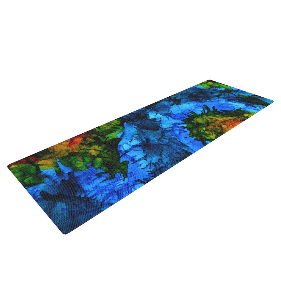 "Claire Day ""Flow"" Blue Green Yoga Mat - KESS InHouse  - 1"