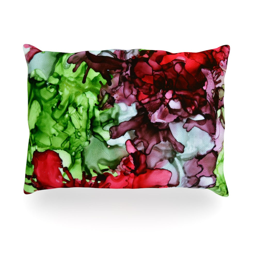"Claire Day ""TMNT"" Green Maroon Oblong Pillow - KESS InHouse"